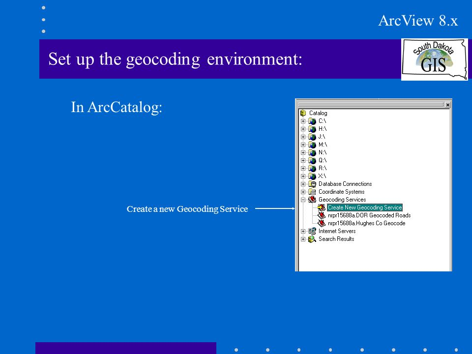 Set up the geocoding environment: In ArcCatalog: Create a new Geocoding Service ArcView 8.x
