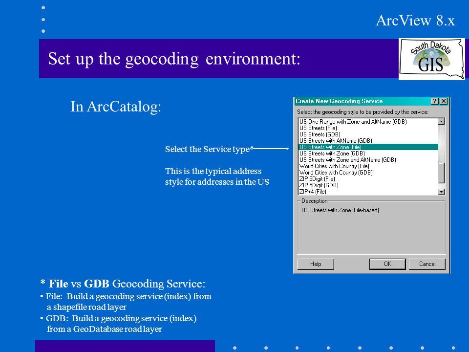Set up the geocoding environment: In ArcCatalog: Select the Service type* This is the typical address style for addresses in the US * File vs GDB Geocoding Service: File: Build a geocoding service (index) from a shapefile road layer GDB: Build a geocoding service (index) from a GeoDatabase road layer ArcView 8.x
