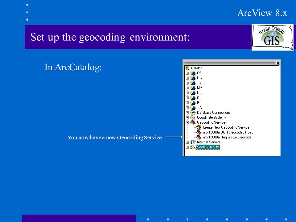 Set up the geocoding environment: In ArcCatalog: You now have a new Geocoding Service ArcView 8.x