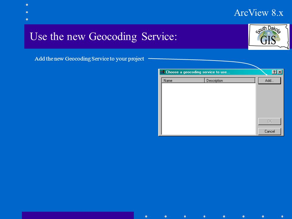 Use the new Geocoding Service: Add the new Geocoding Service to your project ArcView 8.x