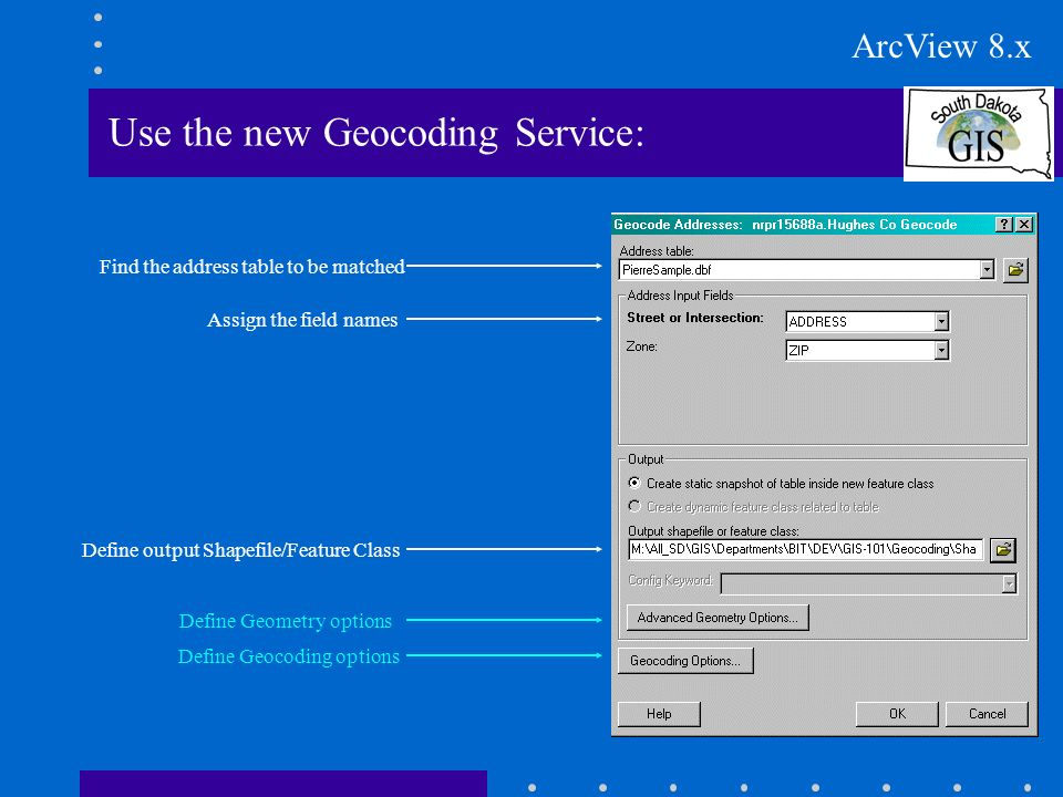 Use the new Geocoding Service: Find the address table to be matched Assign the field names Define output Shapefile/Feature Class Define Geocoding options Define Geometry options ArcView 8.x