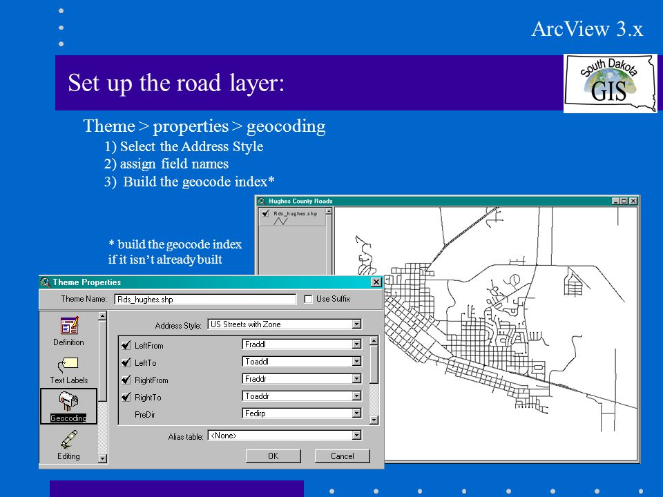 Set up the road layer: Theme > properties > geocoding 1) Select the Address Style 2) assign field names 3) Build the geocode index* * build the geocode index if it isnt already built ArcView 3.x