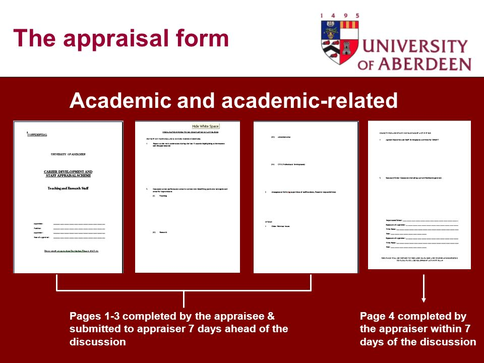 Academic and academic-related Pages 1-3 completed by the appraisee & submitted to appraiser 7 days ahead of the discussion Page 4 completed by the appraiser within 7 days of the discussion The appraisal form