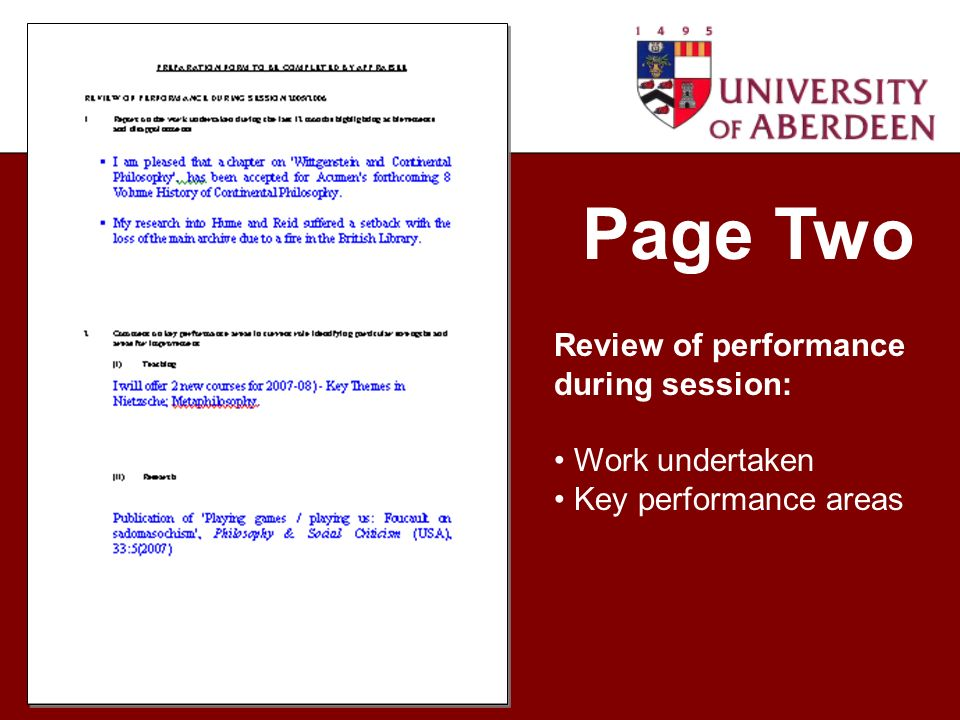 Page Two Review of performance during session: Work undertaken Key performance areas