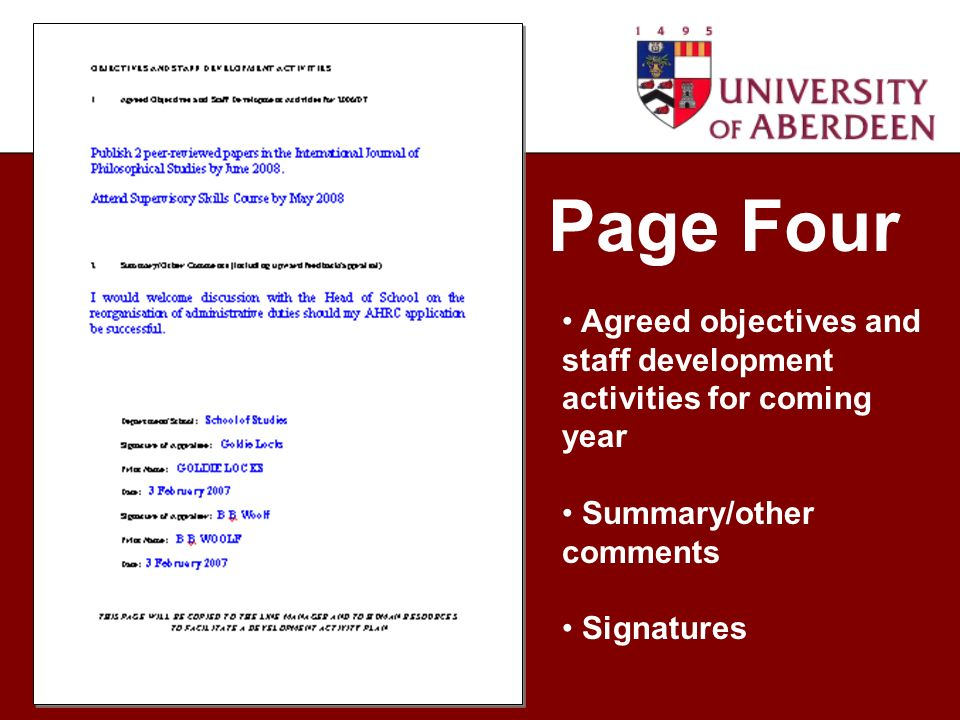 Page Four Agreed objectives and staff development activities for coming year Summary/other comments Signatures