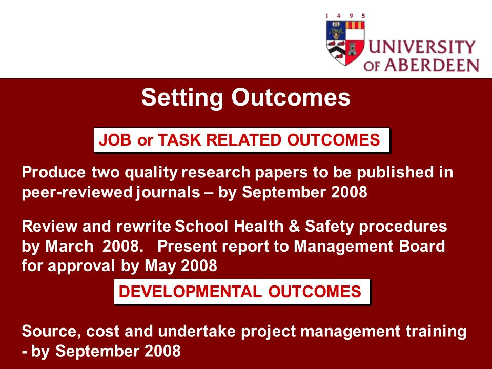 Setting Outcomes Produce two quality research papers to be published in peer-reviewed journals – by September 2008 Review and rewrite School Health & Safety procedures by March 2008.
