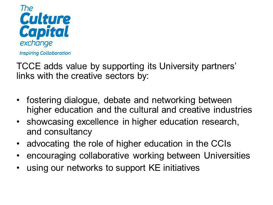 TCCE adds value by supporting its University partners links with the creative sectors by: fostering dialogue, debate and networking between higher education and the cultural and creative industries showcasing excellence in higher education research, and consultancy advocating the role of higher education in the CCIs encouraging collaborative working between Universities using our networks to support KE initiatives
