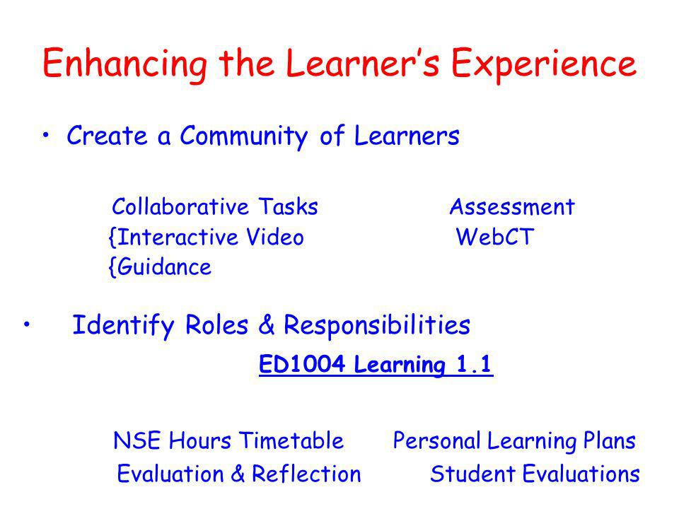 Enhancing the Learners Experience Create a Community of Learners Collaborative TasksAssessment {Interactive Video WebCT {Guidance Identify Roles & Responsibilities ED1004 Learning 1.1 NSE Hours Timetable Personal Learning Plans Evaluation & Reflection Student Evaluations