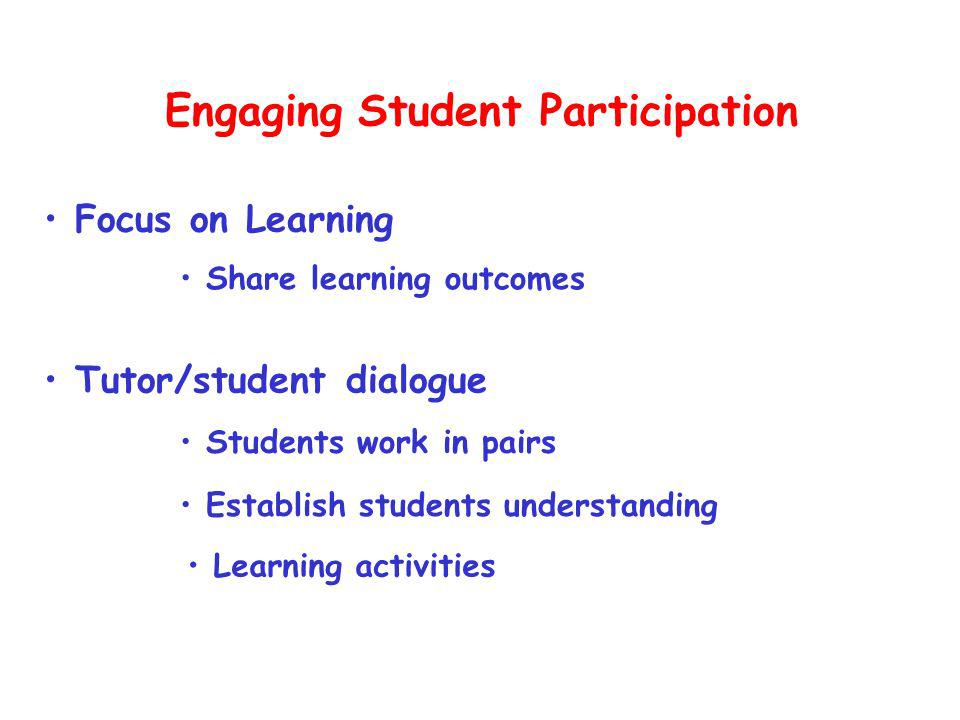 Focus on Learning Tutor/student dialogue Engaging Student Participation Establish students understanding Share learning outcomes Students work in pairs Learning activities