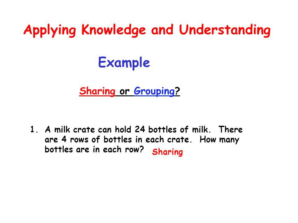 Applying Knowledge and Understanding Example Sharing or Grouping.