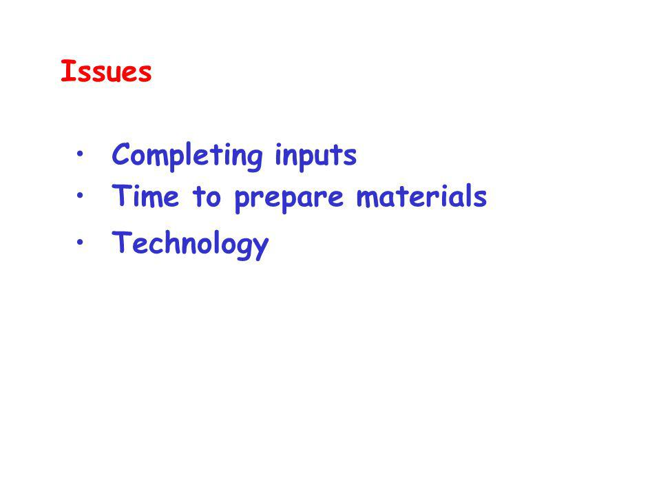 Technology Completing inputs Time to prepare materials Issues