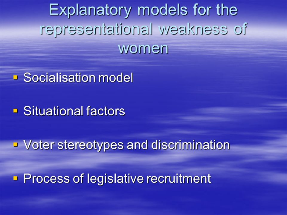 Explanatory models for the representational weakness of women Socialisation model Socialisation model Situational factors Situational factors Voter stereotypes and discrimination Voter stereotypes and discrimination Process of legislative recruitment Process of legislative recruitment