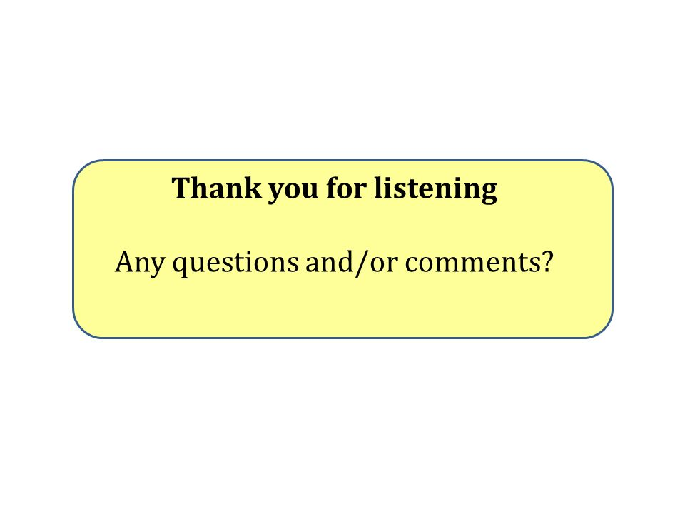 Thank you for listening Any questions and/or comments