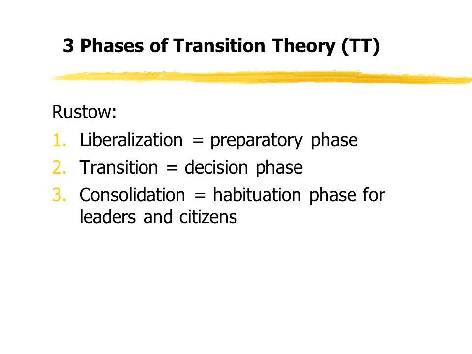 3 Phases of Transition Theory (TT) Rustow: 1.Liberalization = preparatory phase 2.Transition = decision phase 3.Consolidation = habituation phase for leaders and citizens