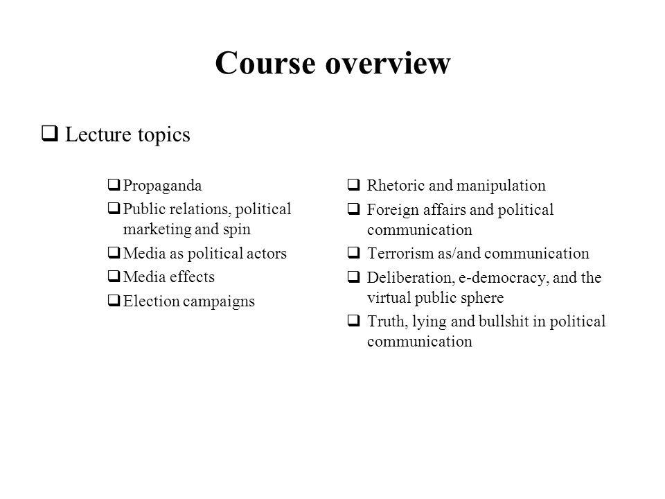 Political Communication Course Overview Deadlines Essay Topics   Course