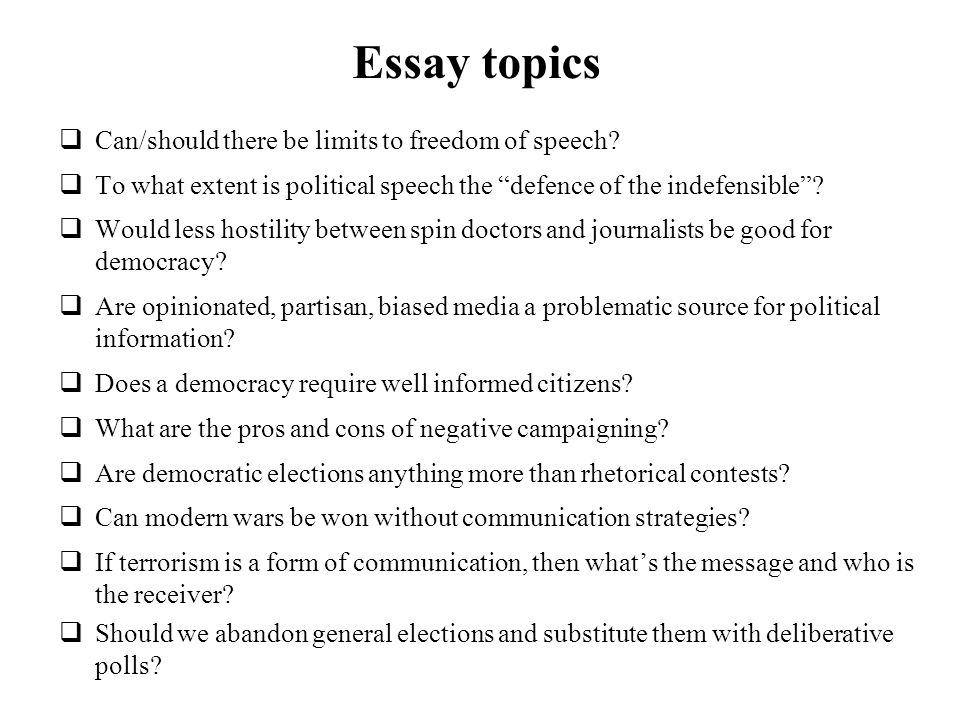High School Essays Topics  Essay Topics  How To Write An Essay Proposal Example also Narrative Essay Example High School Political Communication Course Overview Deadlines Essay Topics  High School Narrative Essay Examples