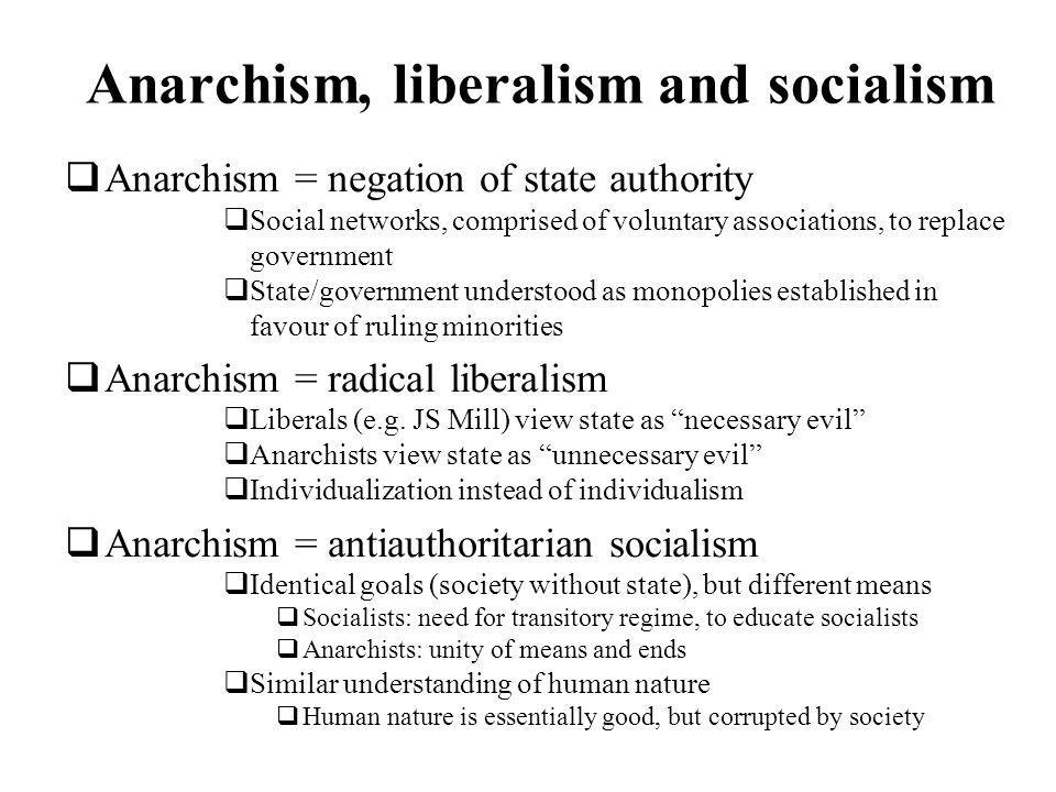Anarchism, liberalism and socialism Anarchism = negation of state authority Social networks, comprised of voluntary associations, to replace government State/government understood as monopolies established in favour of ruling minorities Anarchism = radical liberalism Liberals (e.g.