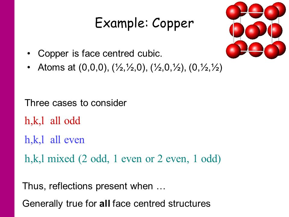 Example: Copper Copper is face centred cubic.