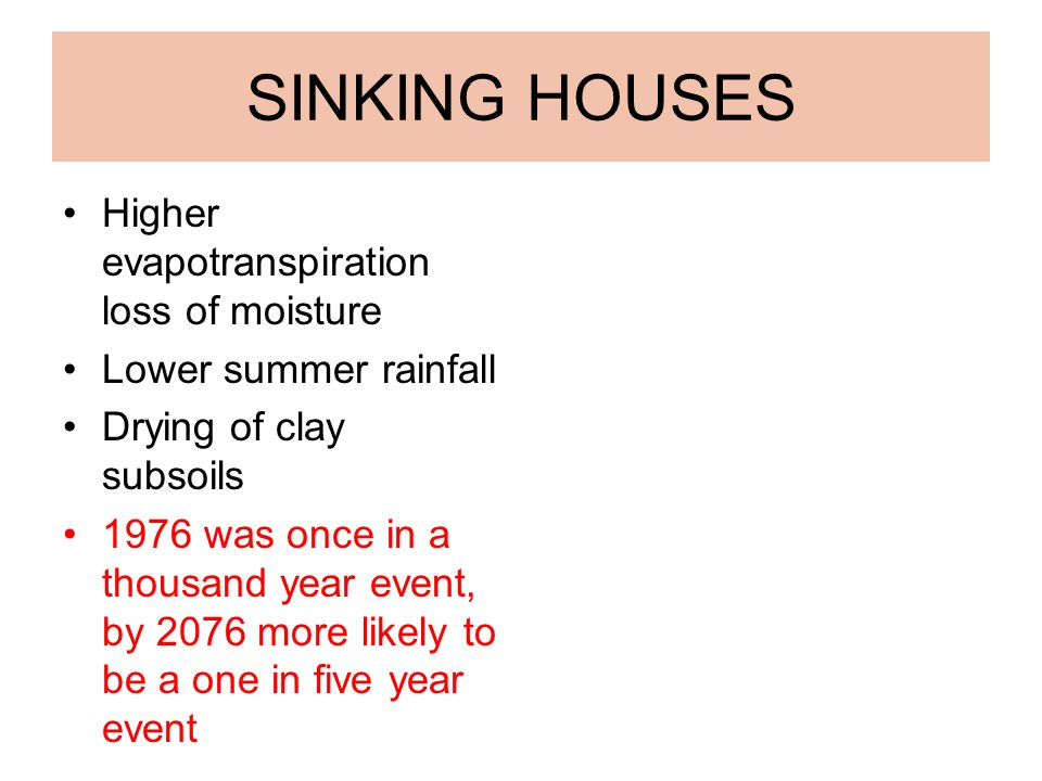 SINKING HOUSES Higher evapotranspiration loss of moisture Lower summer rainfall Drying of clay subsoils 1976 was once in a thousand year event, by 2076 more likely to be a one in five year event.