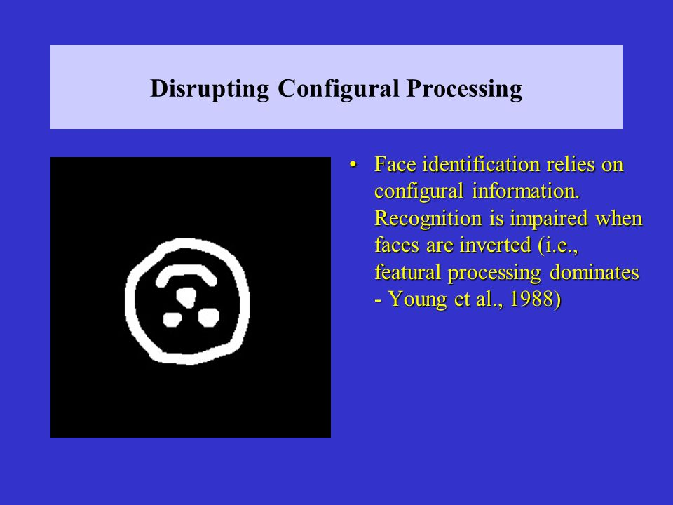 Disrupting Configural Processing Face identification relies on configural information.