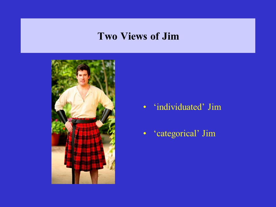 Two Views of Jim individuated Jim categorical Jim