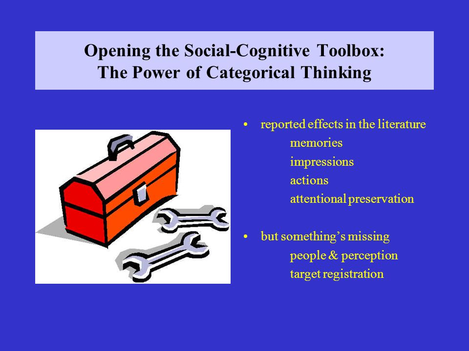 Opening the Social-Cognitive Toolbox: The Power of Categorical Thinking reported effects in the literature memories impressions actions attentional preservation but somethings missing people & perception target registration