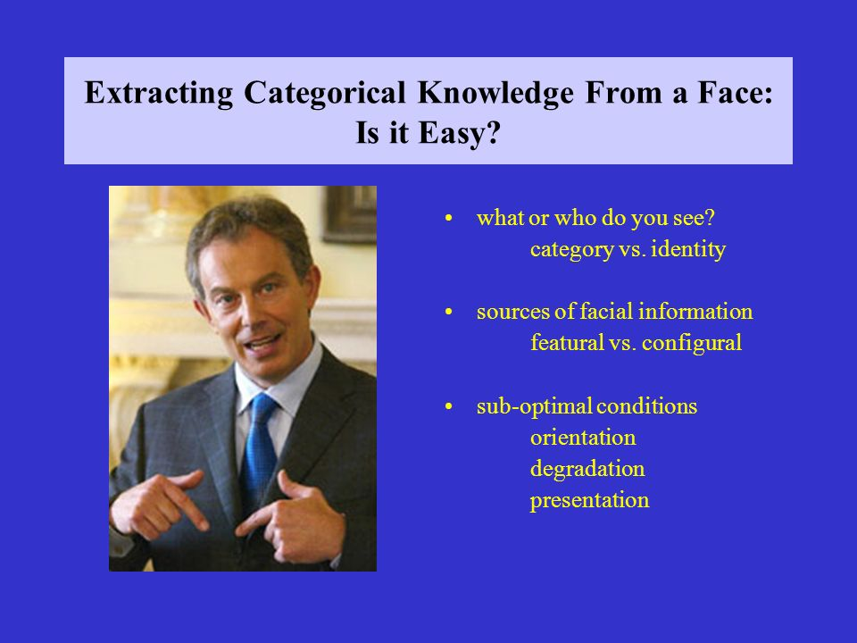 Extracting Categorical Knowledge From a Face: Is it Easy.