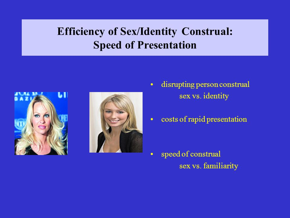 Efficiency of Sex/Identity Construal: Speed of Presentation disrupting person construal sex vs.