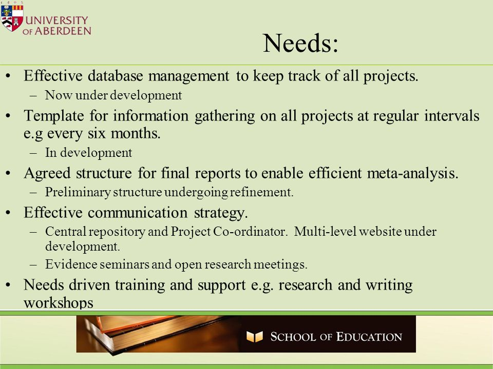 Needs: Effective database management to keep track of all projects.
