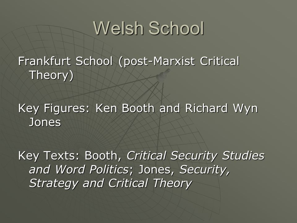 Welsh School Frankfurt School (post-Marxist Critical Theory) Key Figures: Ken Booth and Richard Wyn Jones Key Texts: Booth, Critical Security Studies and Word Politics; Jones, Security, Strategy and Critical Theory