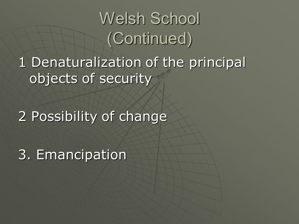 Welsh School (Continued) 1 Denaturalization of the principal objects of security 2 Possibility of change 3.