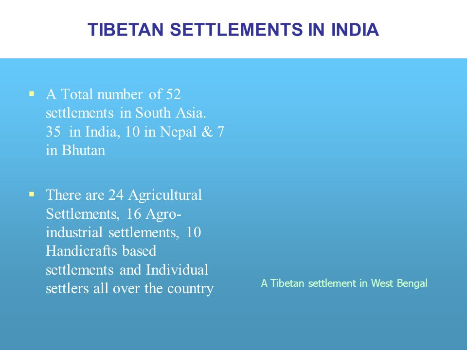 A Total number of 52 settlements in South Asia.