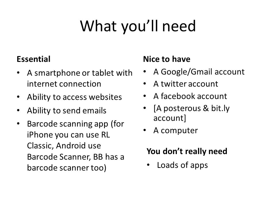 What youll need Essential A smartphone or tablet with internet connection Ability to access websites Ability to send emails Barcode scanning app (for iPhone you can use RL Classic, Android use Barcode Scanner, BB has a barcode scanner too) Nice to have A Google/Gmail account A twitter account A facebook account [A posterous & bit.ly account] A computer You dont really need Loads of apps