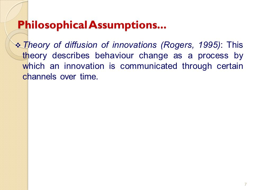 Theory of diffusion of innovations (Rogers, 1995): This theory describes behaviour change as a process by which an innovation is communicated through certain channels over time.