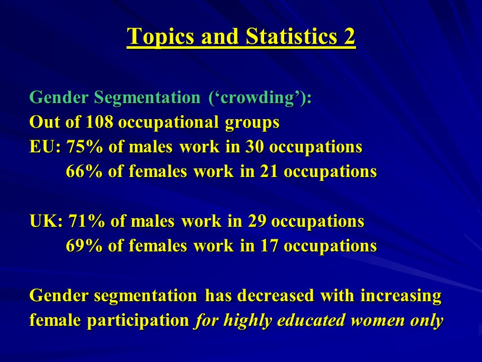 Topics and Statistics 2 Gender Segmentation (crowding): Out of 108 occupational groups EU: 75% of males work in 30 occupations 66% of females work in 21 occupations 66% of females work in 21 occupations UK: 71% of males work in 29 occupations 69% of females work in 17 occupations 69% of females work in 17 occupations Gender segmentation has decreased with increasing female participation for highly educated women only