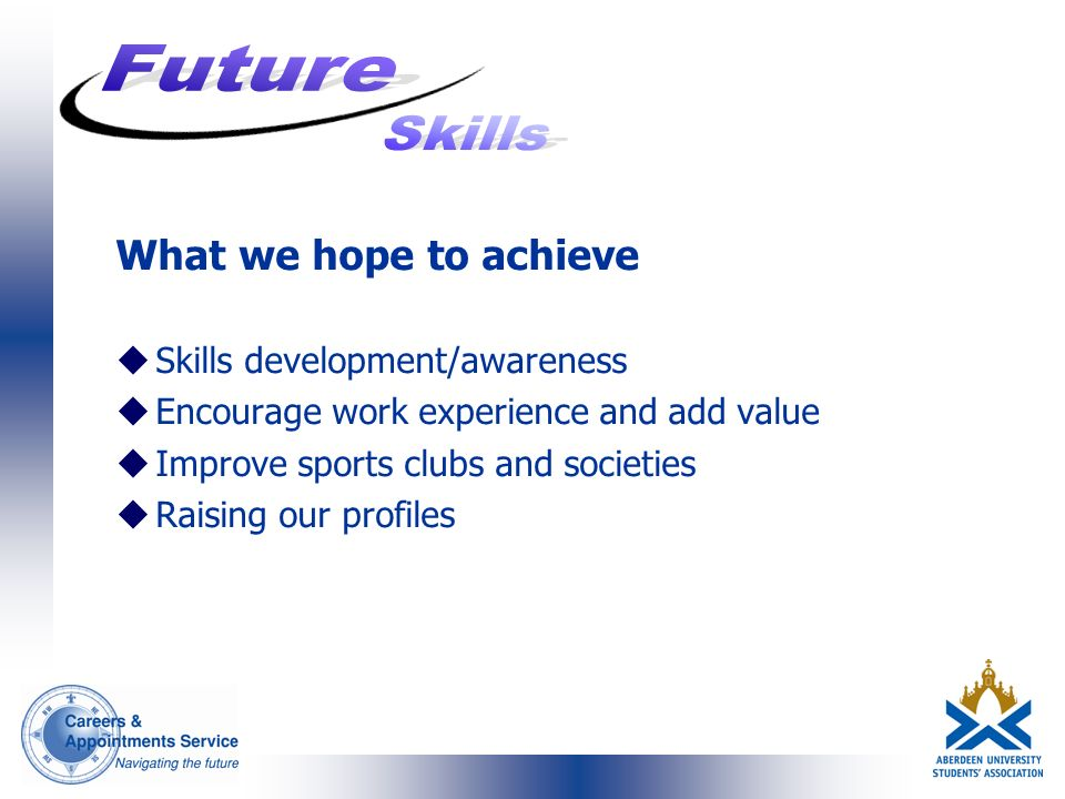 What we hope to achieve uSkills development/awareness uEncourage work experience and add value uImprove sports clubs and societies uRaising our profiles