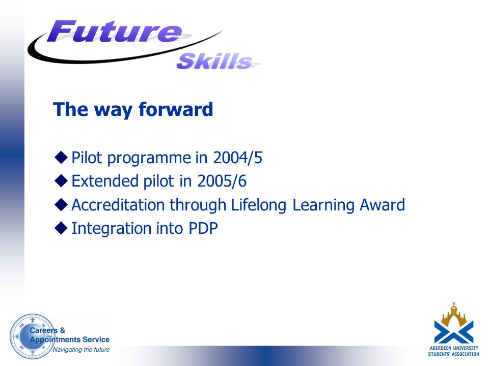 The way forward uPilot programme in 2004/5 uExtended pilot in 2005/6 uAccreditation through Lifelong Learning Award uIntegration into PDP