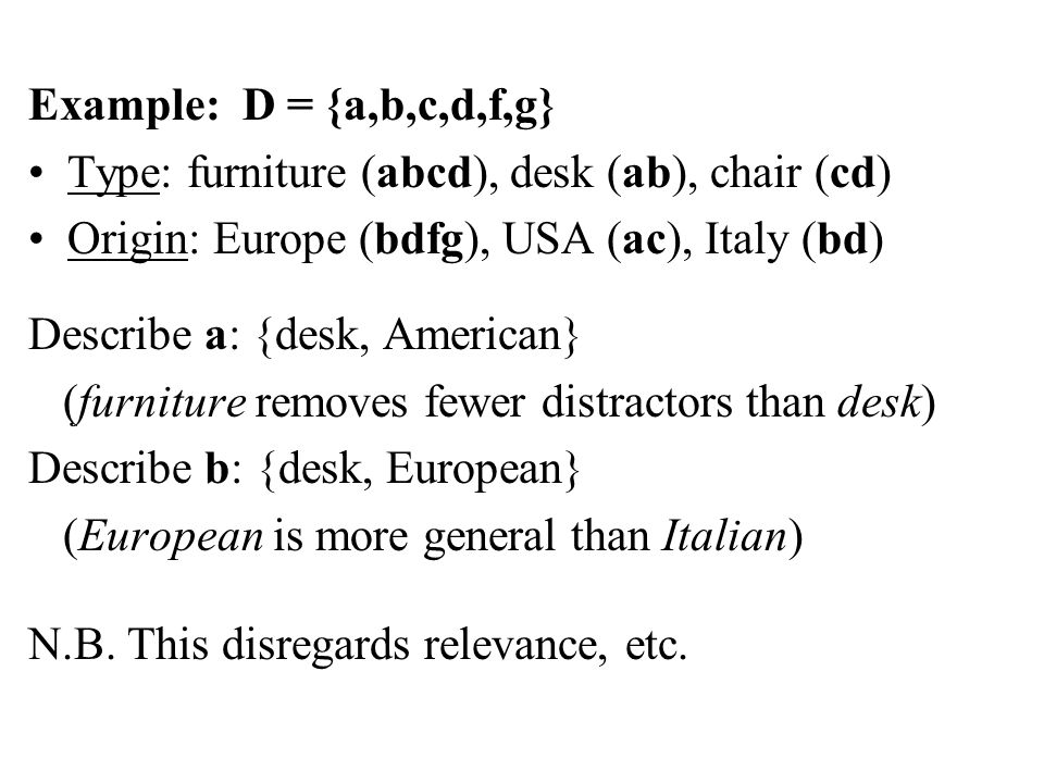 Example: D = {a,b,c,d,f,g} Type: furniture (abcd), desk (ab), chair (cd) Origin: Europe (bdfg), USA (ac), Italy (bd) Describe a: {desk, American} (furniture removes fewer distractors than desk) Describe b: {desk, European} (European is more general than Italian) N.B.