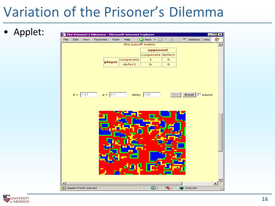 16 Variation of the Prisoners Dilemma Applet:
