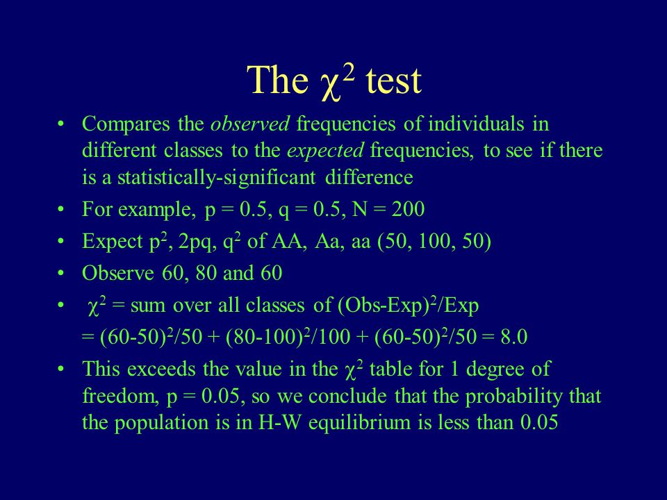 The 2 test Compares the observed frequencies of individuals in different classes to the expected frequencies, to see if there is a statistically-significant difference For example, p = 0.5, q = 0.5, N = 200 Expect p 2, 2pq, q 2 of AA, Aa, aa (50, 100, 50) Observe 60, 80 and 60 2 = sum over all classes of (Obs-Exp) 2 /Exp = (60-50) 2 /50 + (80-100) 2 /100 + (60-50) 2 /50 = 8.0 This exceeds the value in the 2 table for 1 degree of freedom, p = 0.05, so we conclude that the probability that the population is in H-W equilibrium is less than 0.05