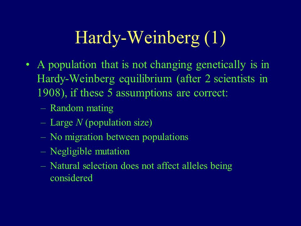 Hardy-Weinberg (1) A population that is not changing genetically is in Hardy-Weinberg equilibrium (after 2 scientists in 1908), if these 5 assumptions are correct: –Random mating –Large N (population size) –No migration between populations –Negligible mutation –Natural selection does not affect alleles being considered