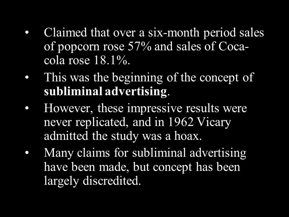 Claimed that over a six-month period sales of popcorn rose 57% and sales of Coca- cola rose 18.1%.