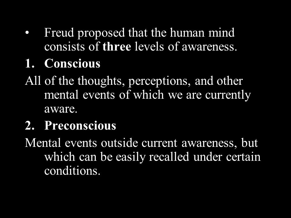 Freud proposed that the human mind consists of three levels of awareness.