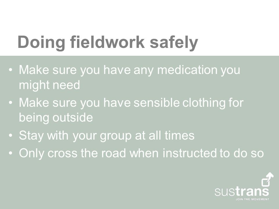 Doing fieldwork safely Make sure you have any medication you might need Make sure you have sensible clothing for being outside Stay with your group at all times Only cross the road when instructed to do so