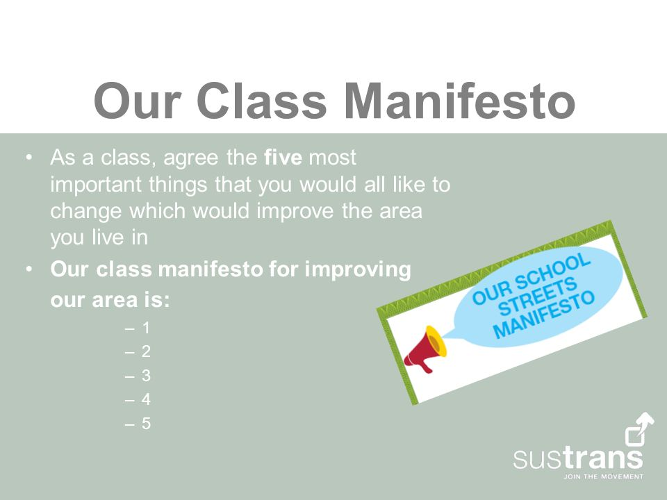 Our Class Manifesto As a class, agree the five most important things that you would all like to change which would improve the area you live in Our class manifesto for improving our area is: –1 –2 –3 –4 –5