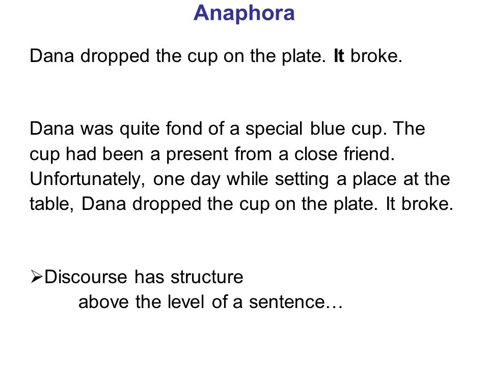 Anaphora Dana dropped the cup on the plate. It broke.