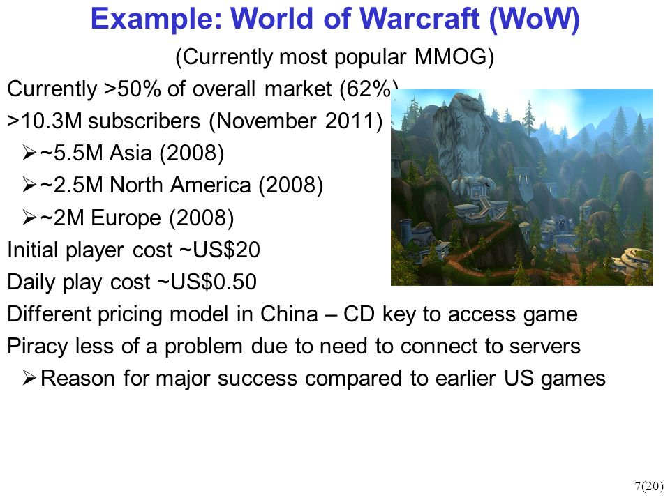 7(20) Example: World of Warcraft (WoW) (Currently most popular MMOG) Currently >50% of overall market (62%) >10.3M subscribers (November 2011) ~5.5M Asia (2008) ~2.5M North America (2008) ~2M Europe (2008) Initial player cost ~US$20 Daily play cost ~US$0.50 Different pricing model in China – CD key to access game Piracy less of a problem due to need to connect to servers Reason for major success compared to earlier US games