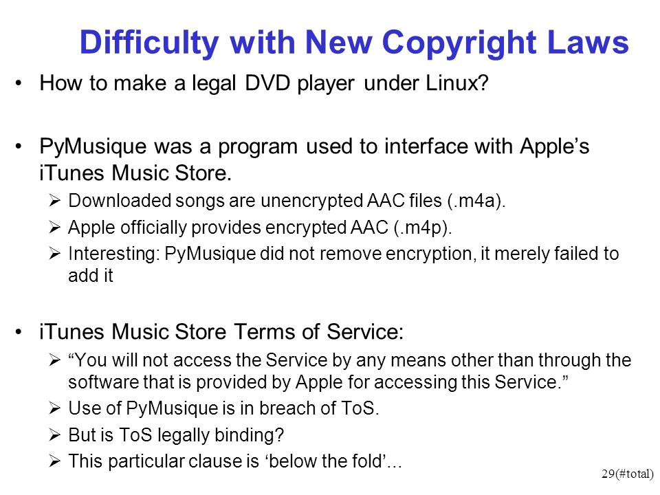 29(#total) Difficulty with New Copyright Laws How to make a legal DVD player under Linux.