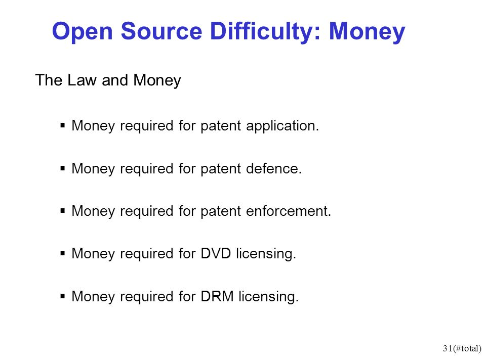 31(#total) Open Source Difficulty: Money The Law and Money Money required for patent application.