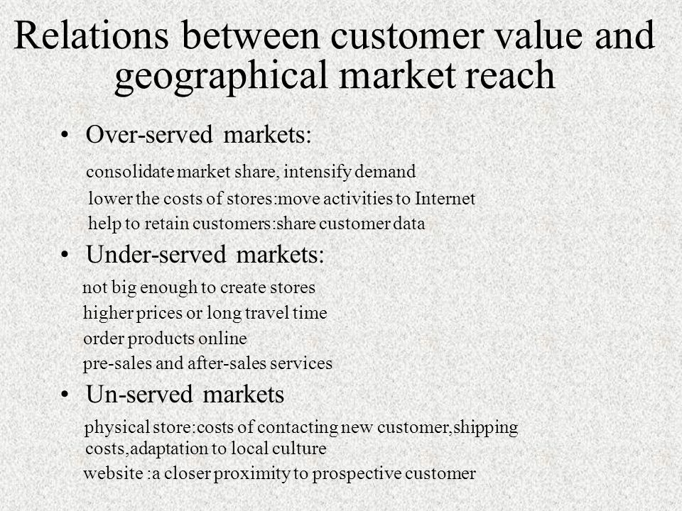 Relations between customer value and geographical market reach Over-served markets: consolidate market share, intensify demand lower the costs of stores:move activities to Internet help to retain customers:share customer data Under-served markets: not big enough to create stores higher prices or long travel time order products online pre-sales and after-sales services Un-served markets physical store:costs of contacting new customer,shipping costs,adaptation to local culture website :a closer proximity to prospective customer